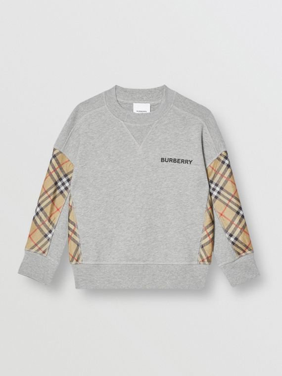 Vintage Check Panel Cotton Sweatshirt in Grey Melange