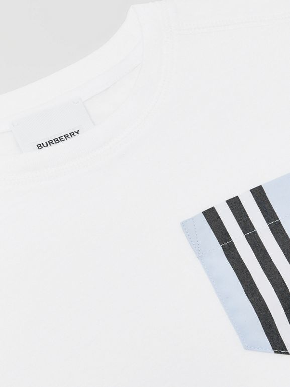 Icon Stripe Pocket Cotton T-shirt in White/pale Blue - Children | Burberry - cell image 1