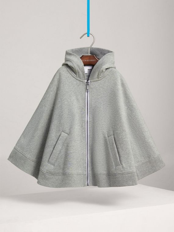 Embroidered Cotton Jersey Hooded Cape in Grey Melange - Girl | Burberry - cell image 2