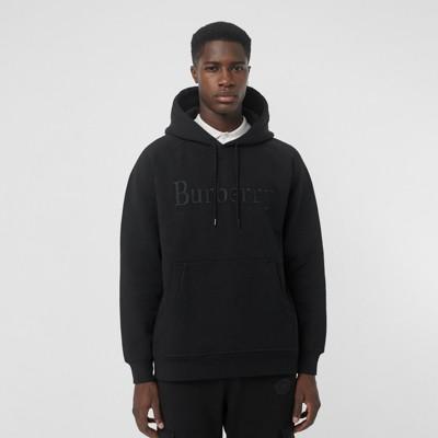 Brodé Jersey Avec À En Homme Logo Capuche Sweat Shirt noir 0XqnI