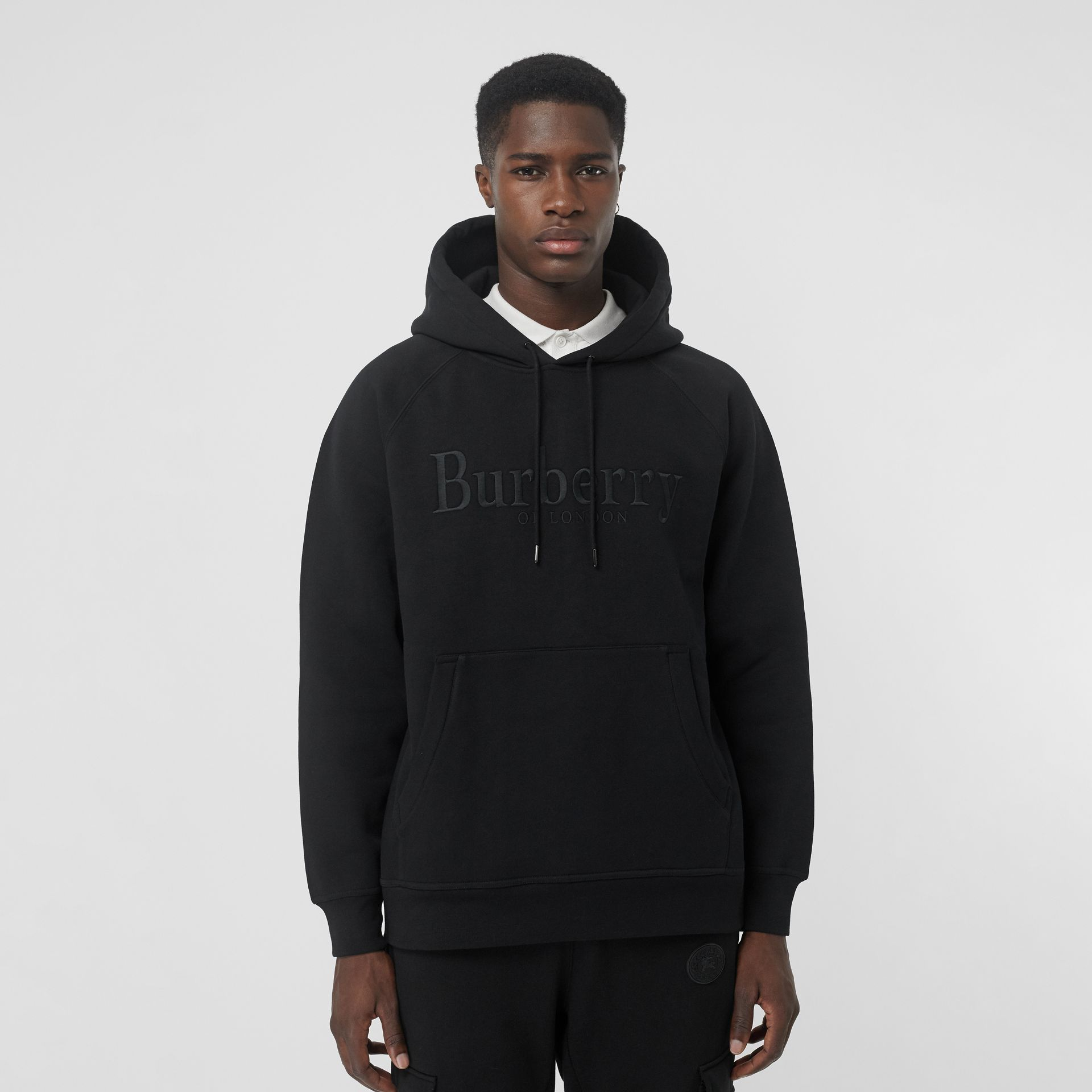 Embroidered Logo Jersey Hoodie in Black - Men | Burberry Australia - gallery image 4