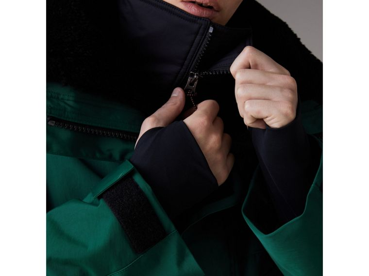 Detachable Shearling Collar Modular Jacket with Warmer in Sea Green - Men | Burberry - cell image 1