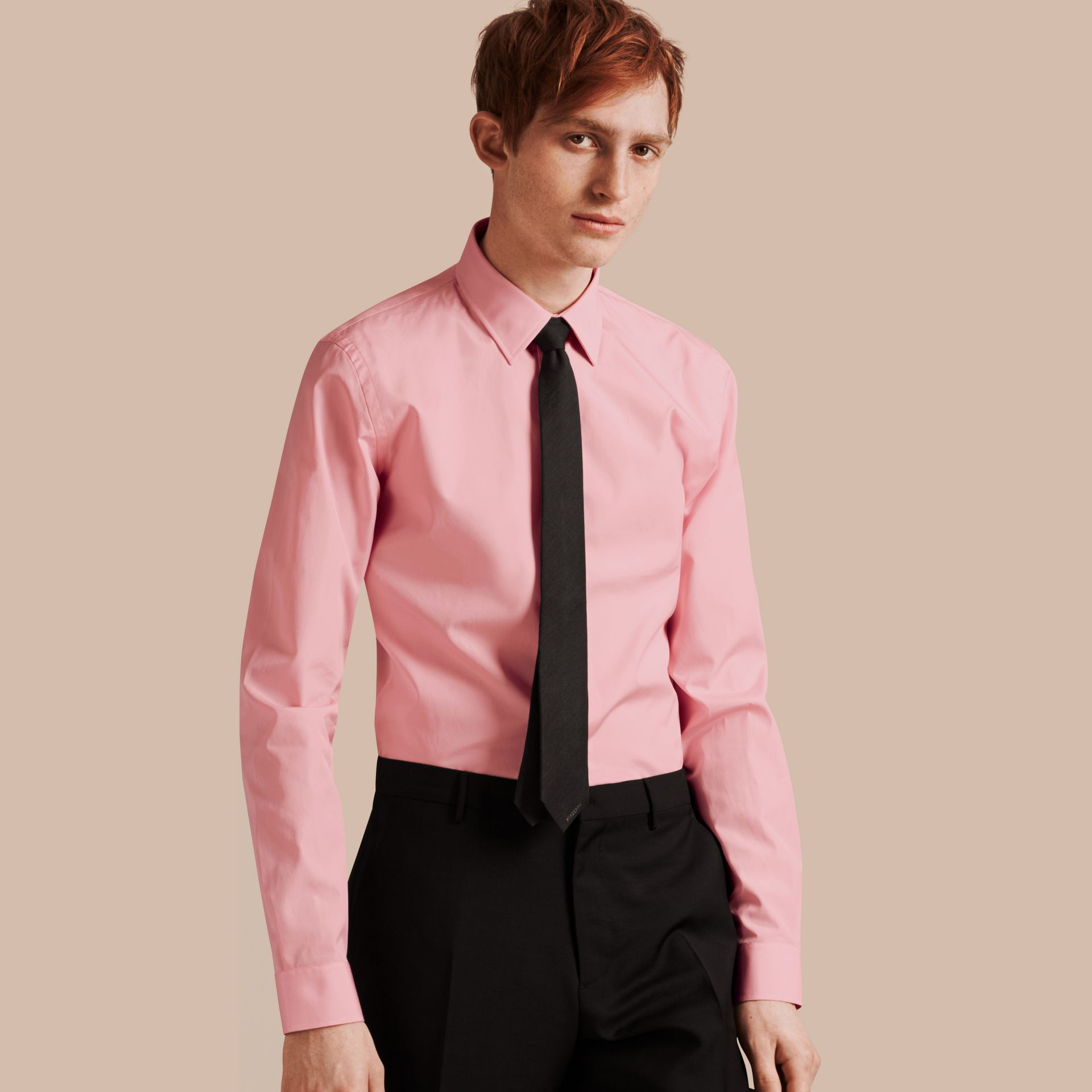 Slim Fit Cotton Poplin Shirt in City Pink - gallery image 7