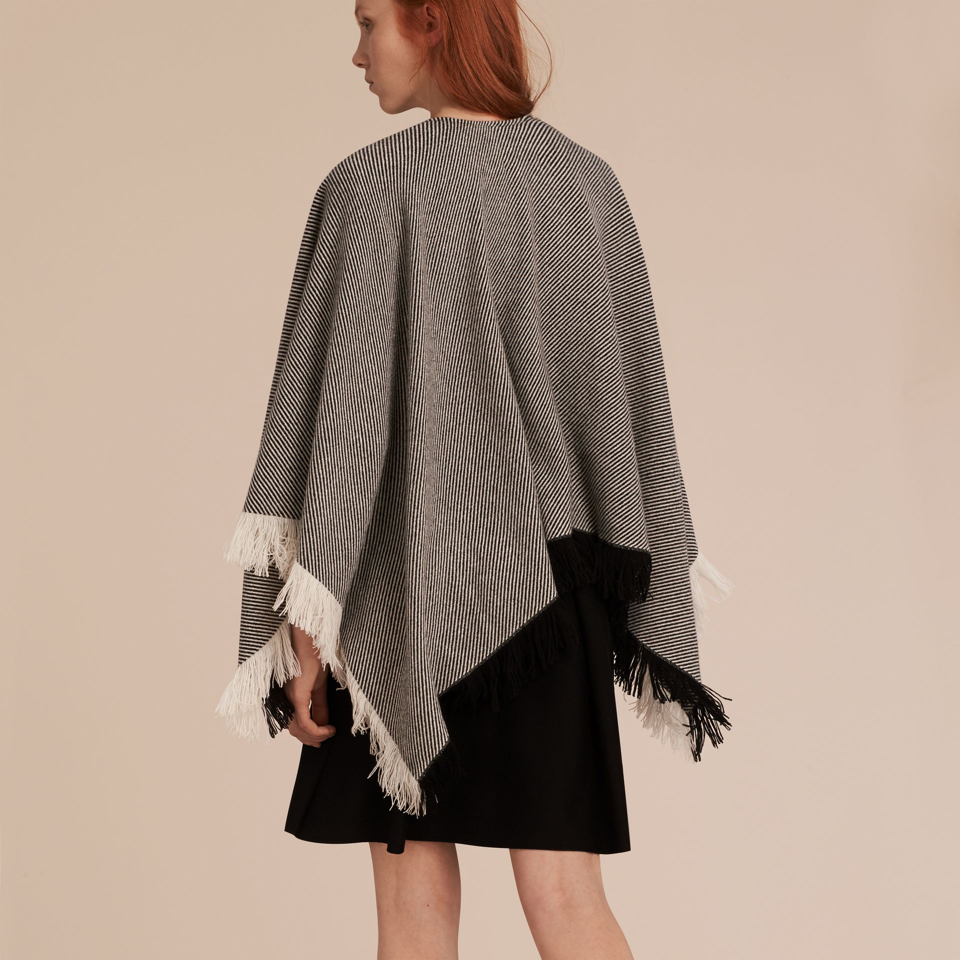Black/white Fringed Wool Cashmere Poncho - gallery image 3