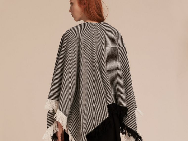Black/white Fringed Wool Cashmere Poncho - cell image 2