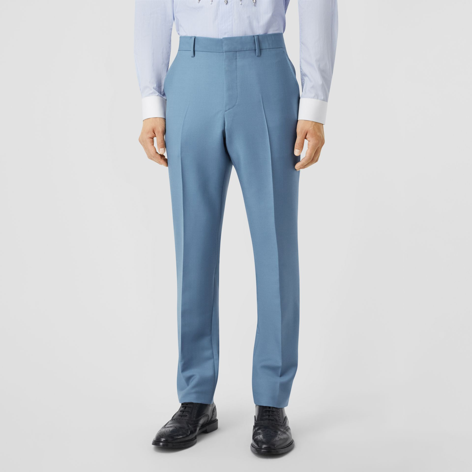 Classic Fit Mohair Wool Tailored Trousers in Steel Blue - Men | Burberry - gallery image 4