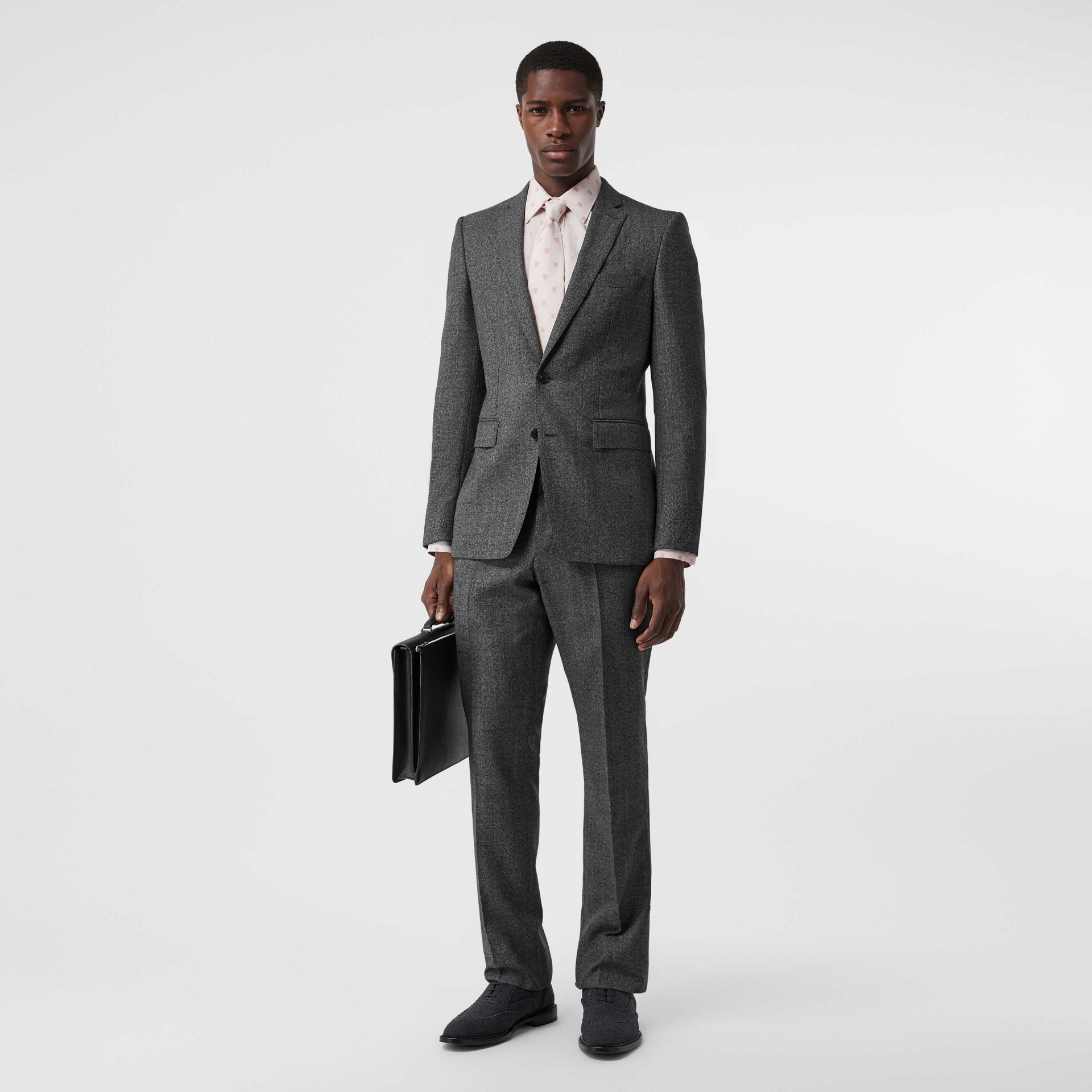 English Fit Sharkskin Wool Suit in Black Melange - Men | Burberry Australia - gallery image 0