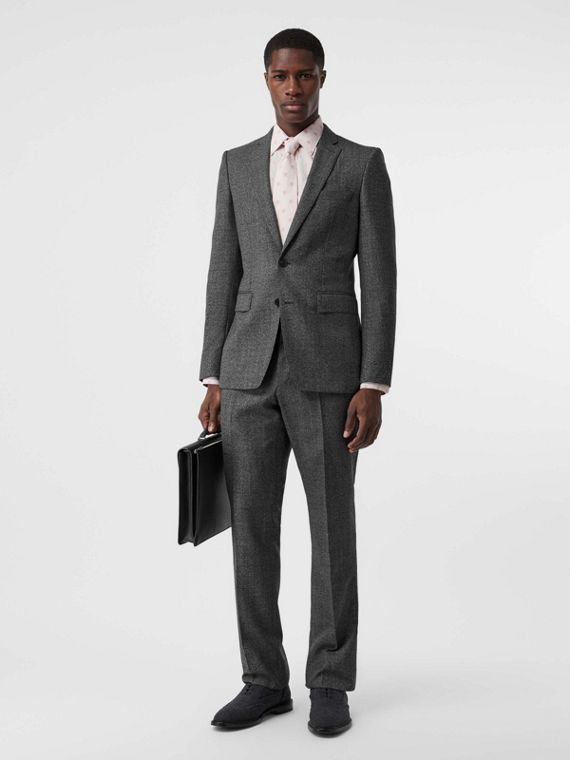 English Fit Sharkskin Wool Suit in Black Melange