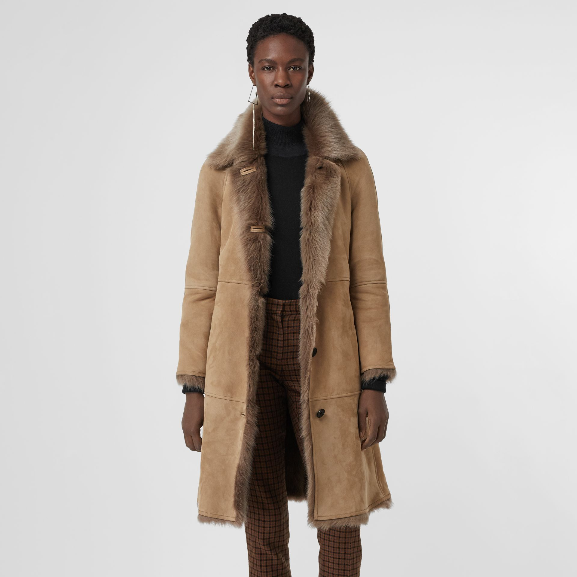 Shearling Car Coat in Camel - Women | Burberry - gallery image 4
