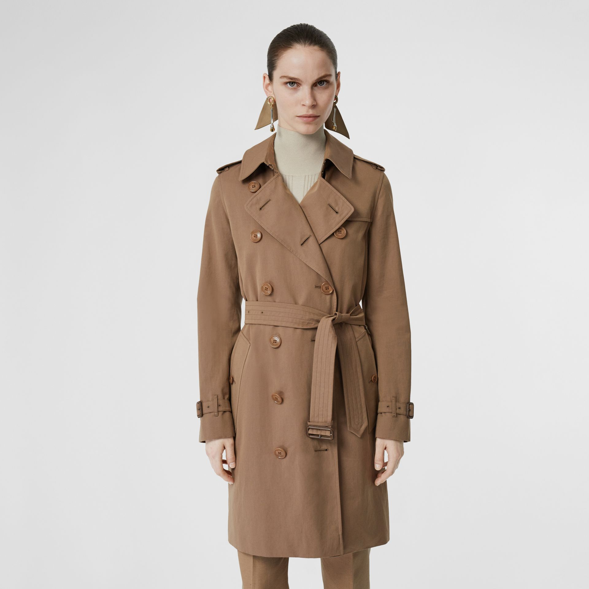 Tropical Gabardine Trench Coat in Taupe - Women | Burberry United Kingdom - gallery image 6