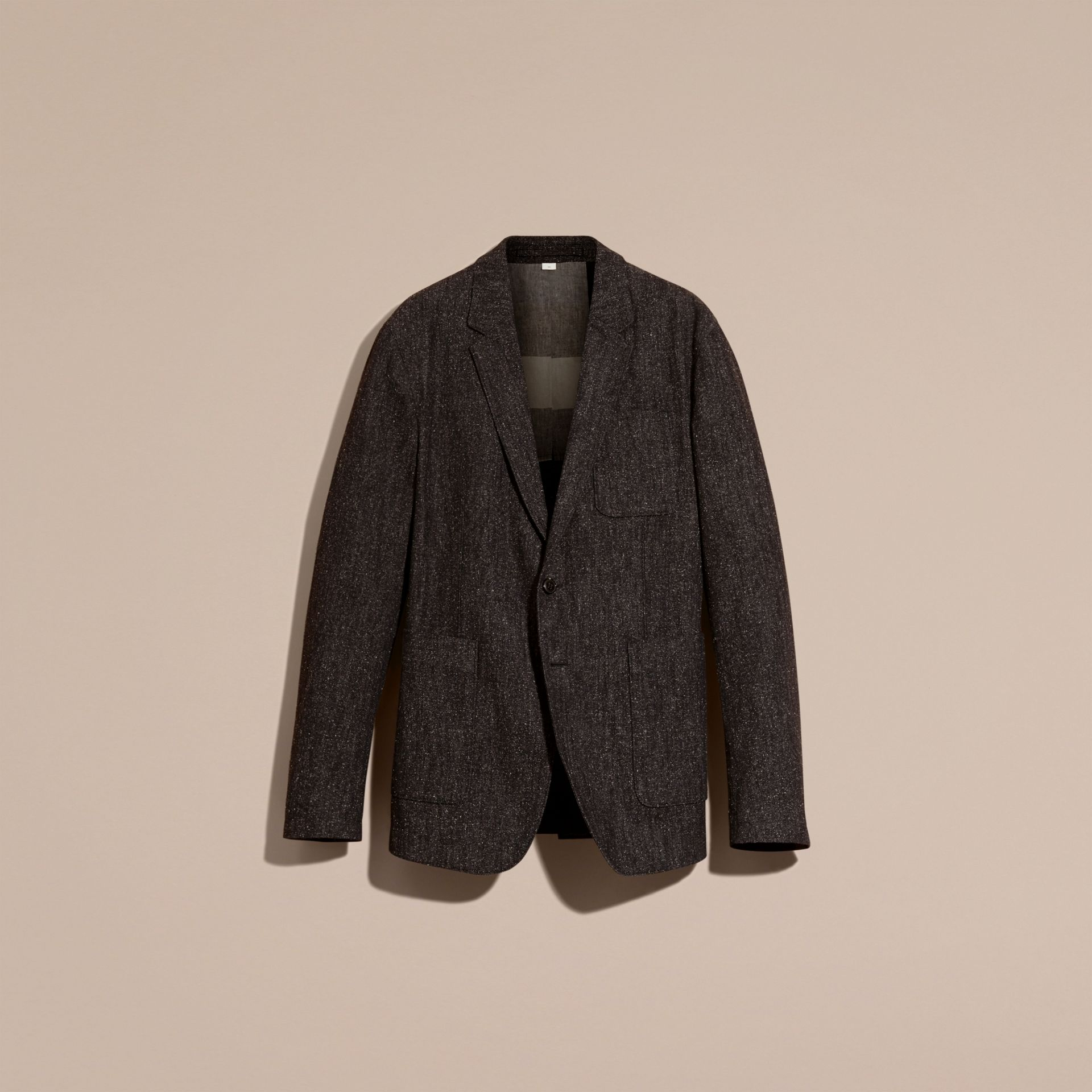 Charcoal blue Cotton Silk Tweed Tailored Jacket - gallery image 4