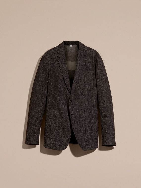 Charcoal blue Cotton Silk Tweed Tailored Jacket - cell image 3