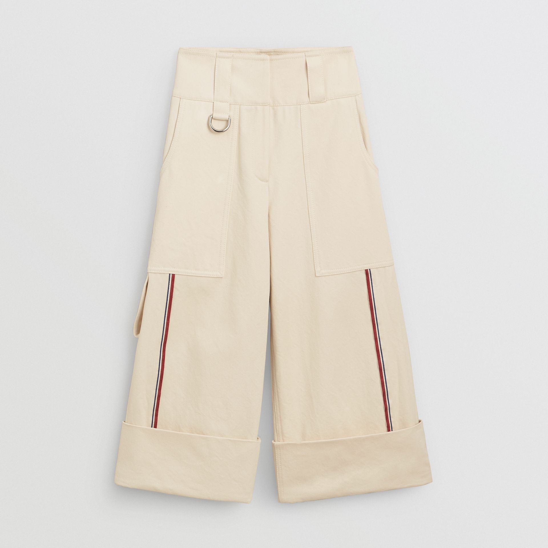 Pantalon ample 7/8 en coton à rayures (Blanc Naturel) - Femme | Burberry - photo de la galerie 3