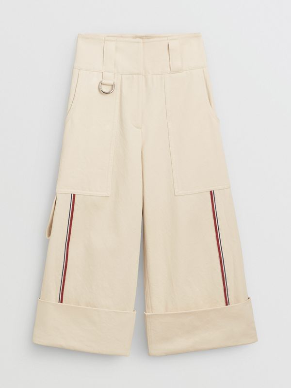 Stripe Detail Cotton Cropped Wide-leg Trousers in Natural White - Women | Burberry Canada - cell image 3