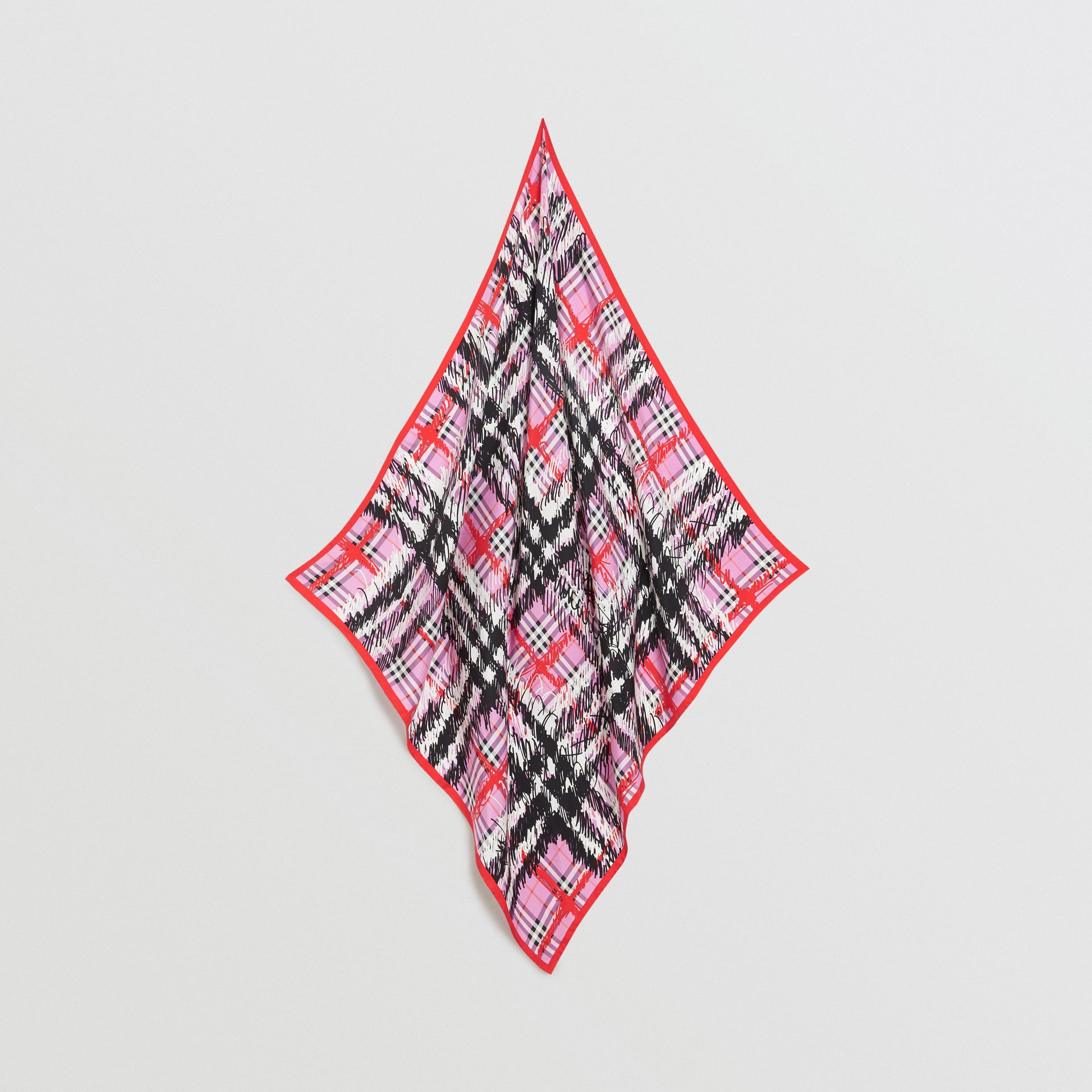 Scribble Check Silk Square Scarf in Fuchsia Pink | Burberry - gallery image 0