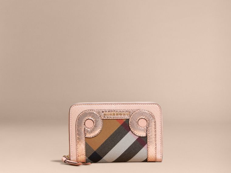 Copper pink Leather, Snakeskin and House Check Ziparound Wallet - cell image 4
