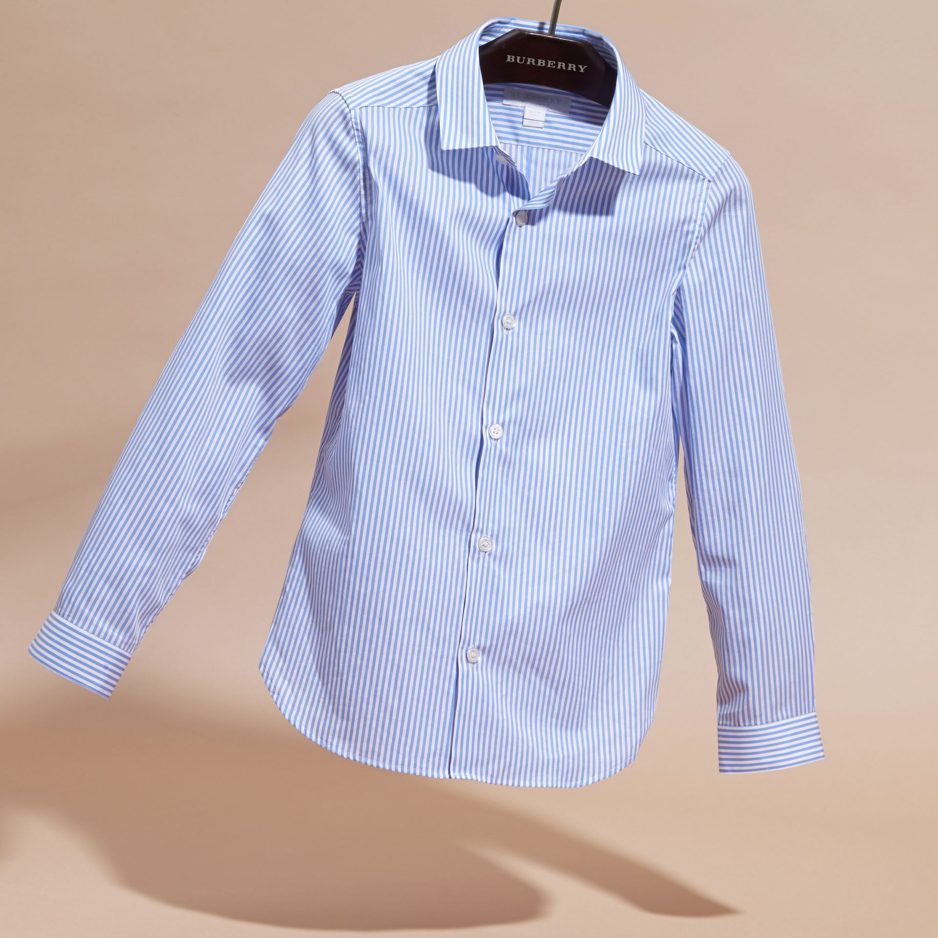 Hydrangea blue Striped Cotton Shirt - gallery image 3