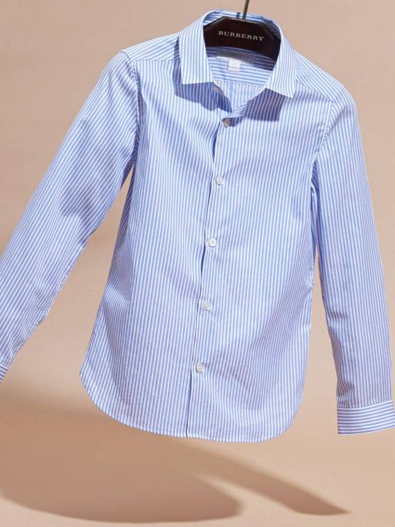 Hydrangea blue Striped Cotton Shirt - cell image 2