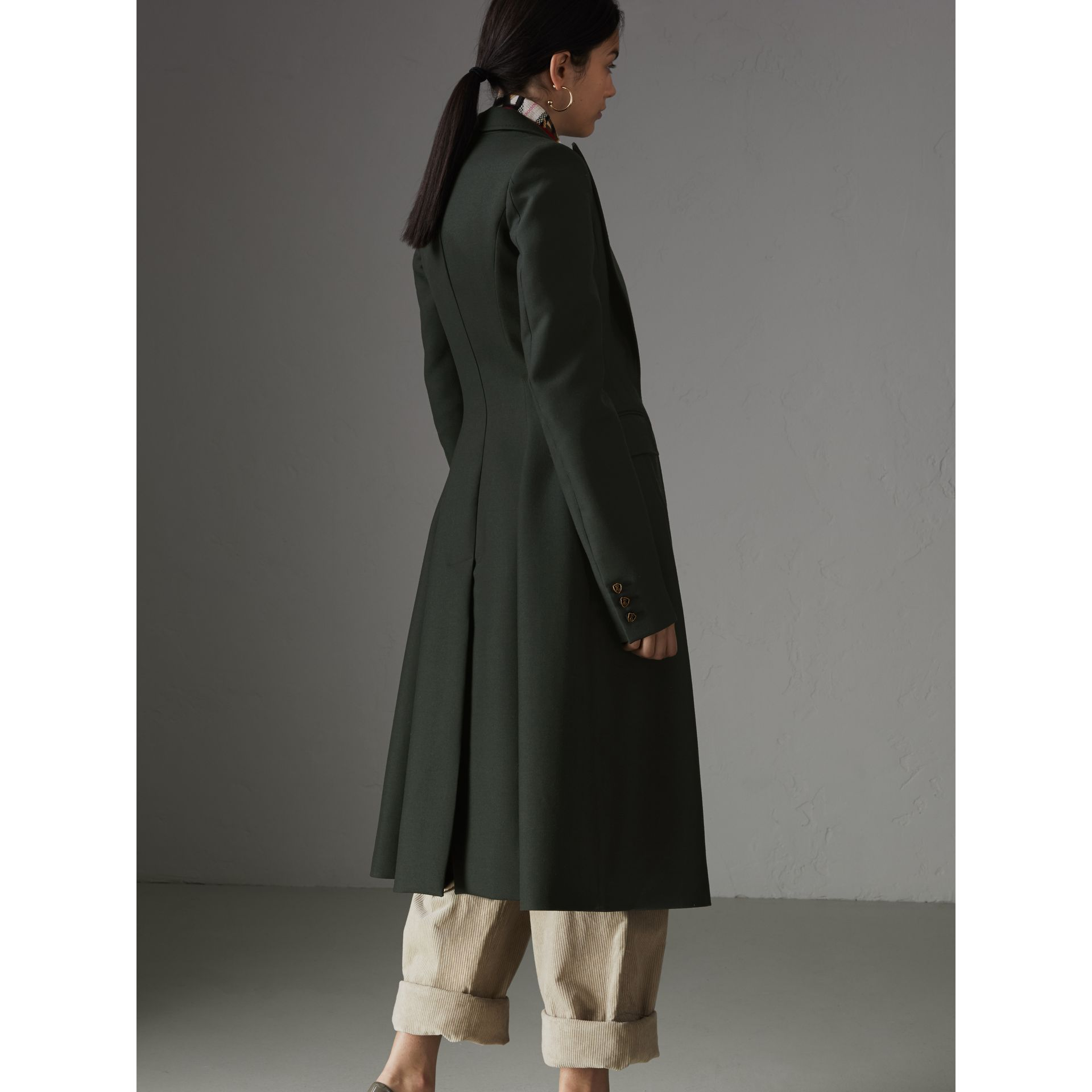 Crested Button Wool Tailored Coat in Racing Green/bright Navy - Women | Burberry United Kingdom - gallery image 1