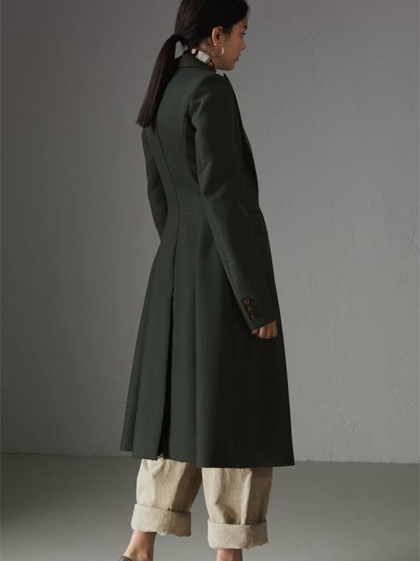 Crested Button Wool Tailored Coat in Racing Green/bright Navy - Women | Burberry United Kingdom - cell image 2