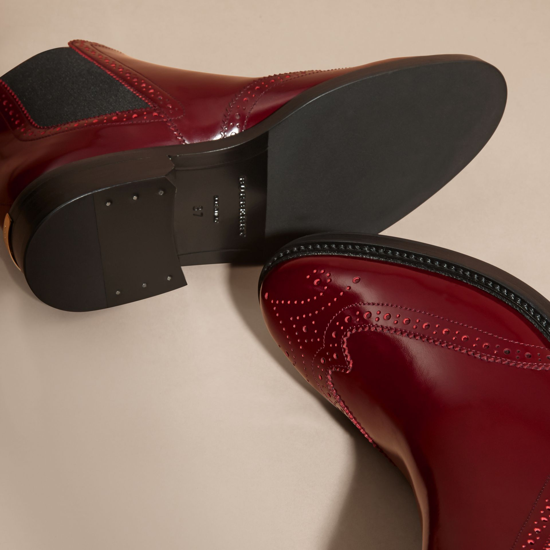 Mahogany red Leather Wingtip Chelsea Boots - gallery image 5