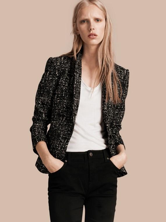 Tailored Wool Blend Tweed Jacket