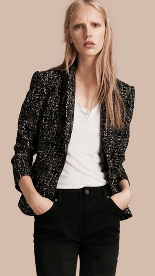 Tailored Wool Blend Tweed Jacket