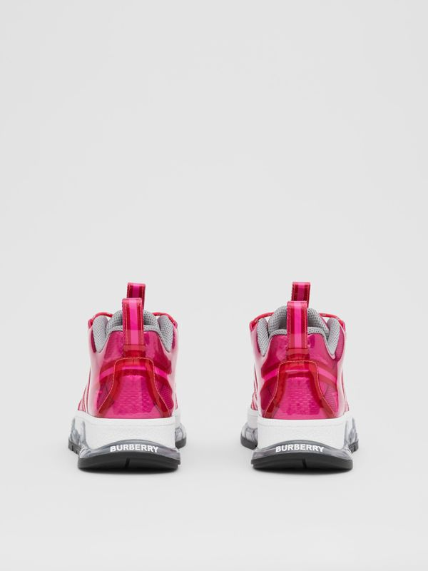 Vinyl and Nylon Union Sneakers in Fuchsia - Women | Burberry - cell image 3