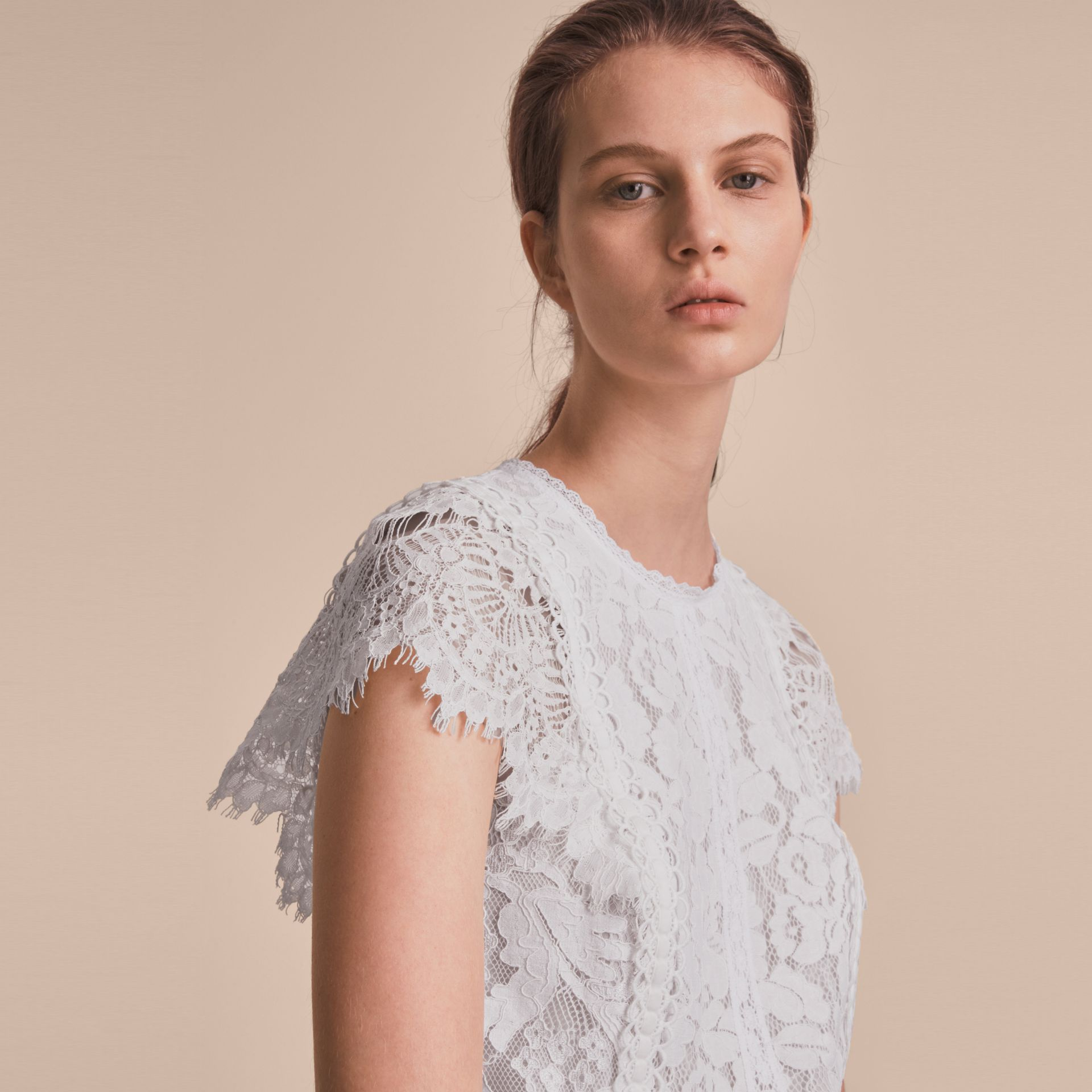 Scalloped Cap Sleeve Floral Lace Top - gallery image 5