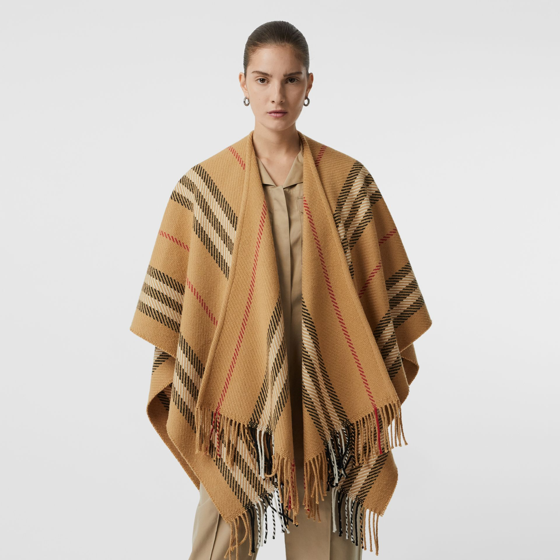 Stripe Wool Cashmere Cape in Black - Women | Burberry Australia - gallery image 5