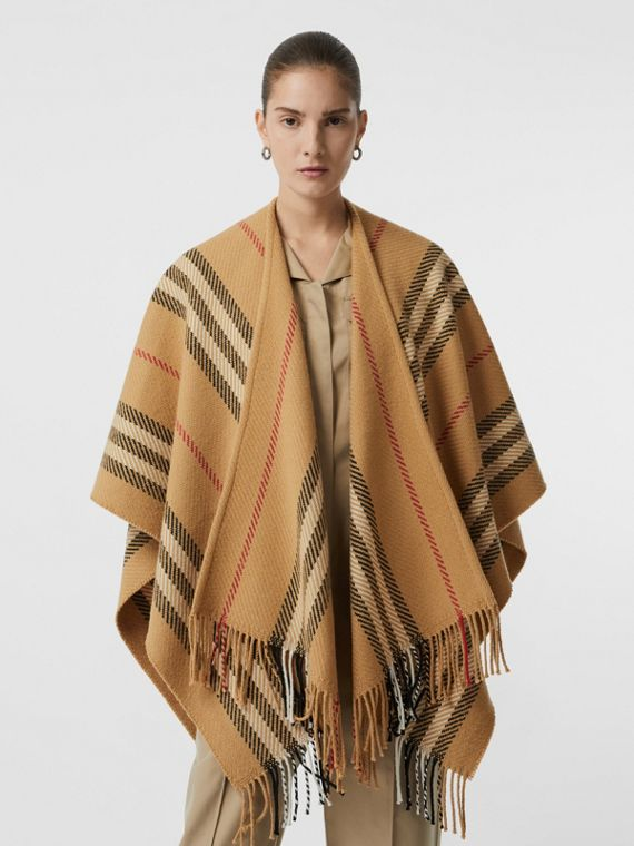 Stripe Wool Cashmere Cape in Black