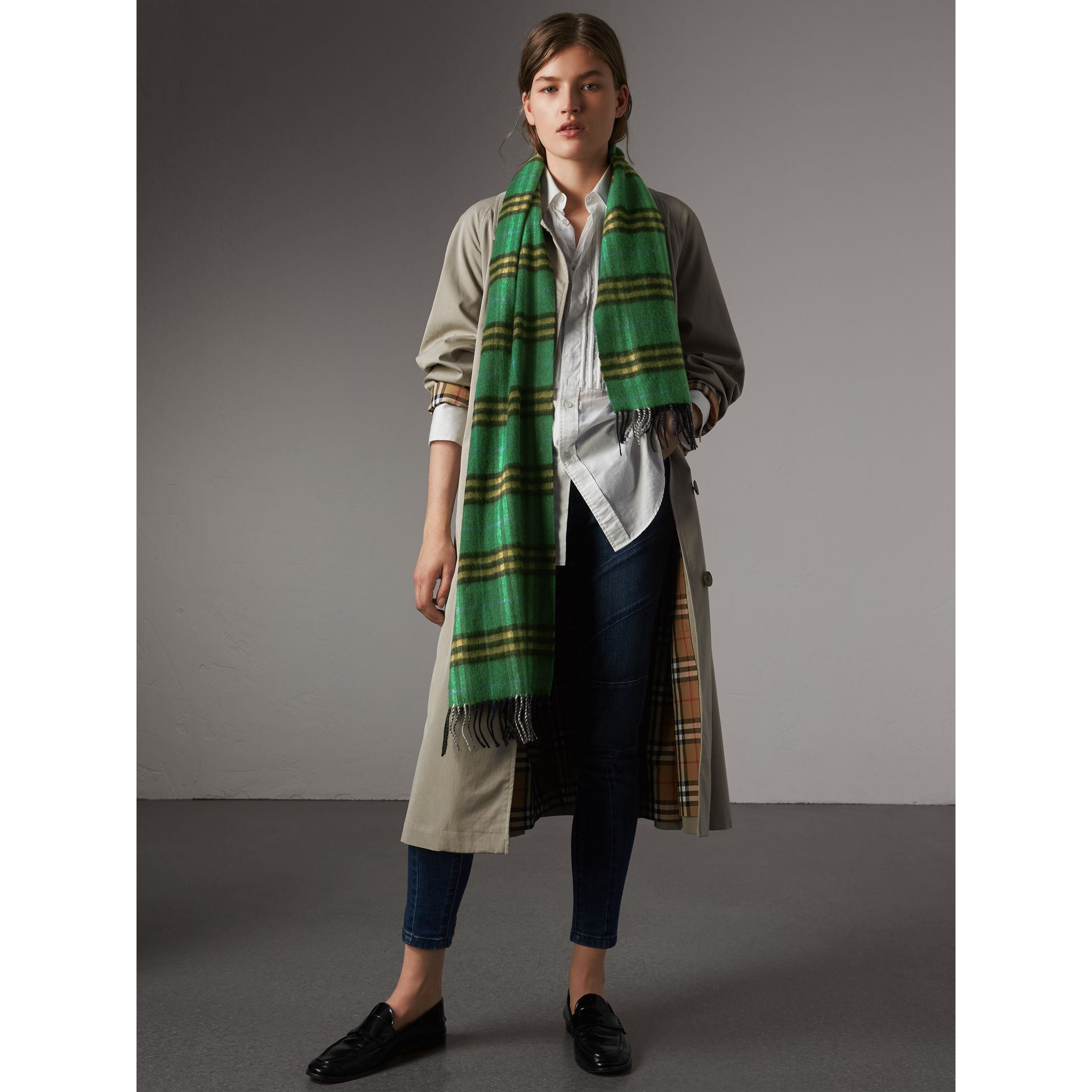 Check Cashmere Scarf in Forest Green | Burberry Australia - gallery image 2