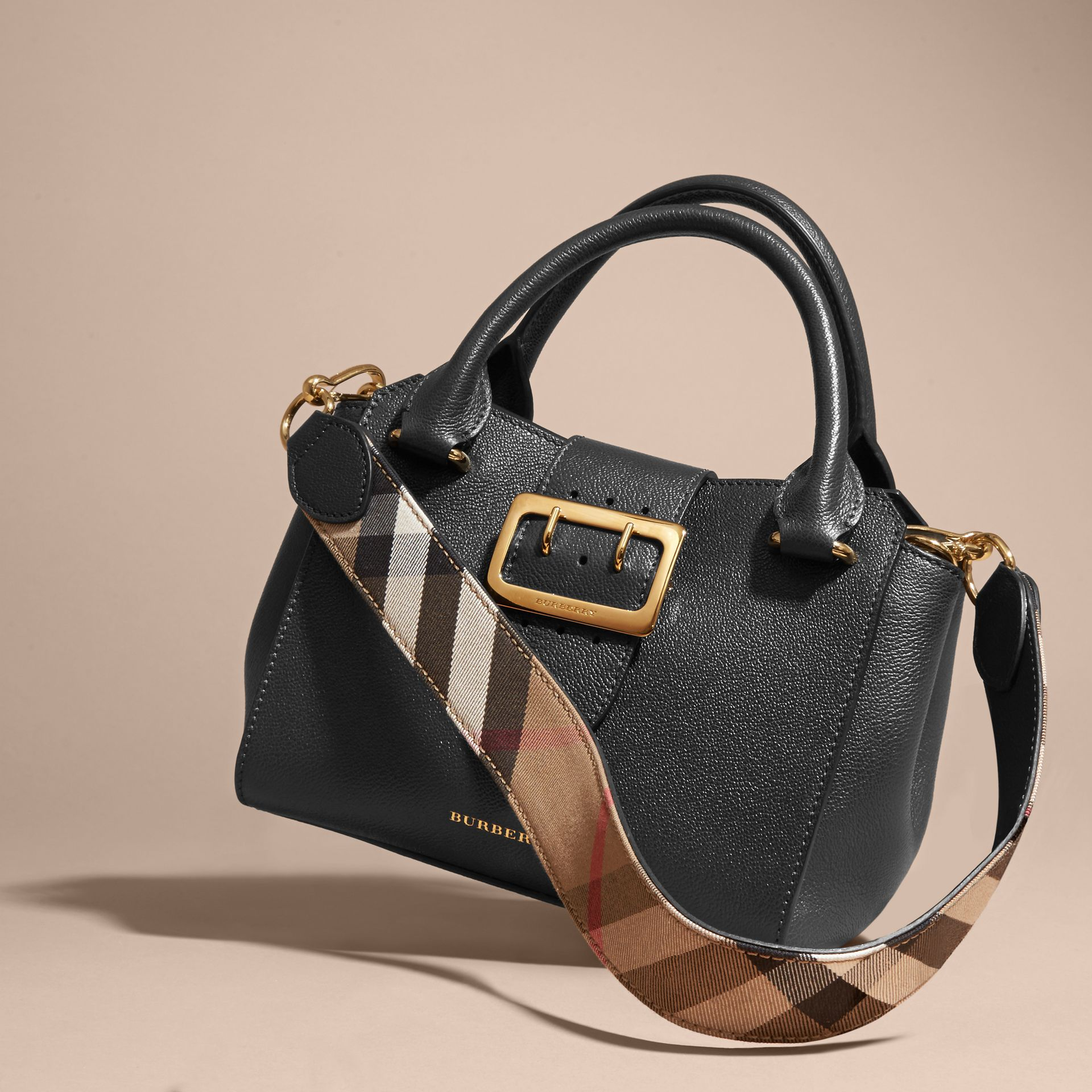 The Small Buckle Tote in Grainy Leather Black - gallery image 8