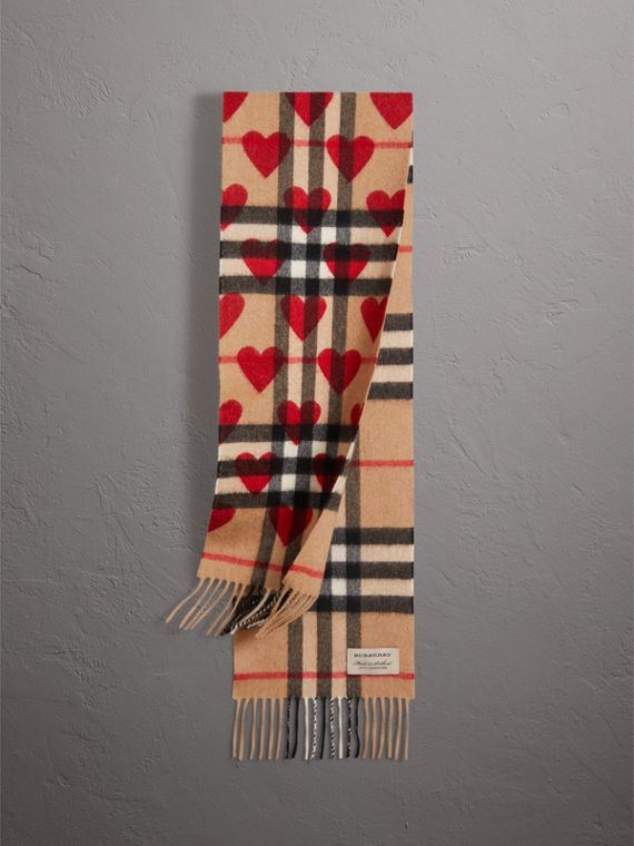 The Mini Classic Check Cashmere Scarf with Hearts in Parade Red