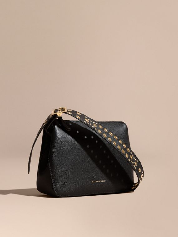 Eyelet and Rivet Detail Leather Crossbody Bag