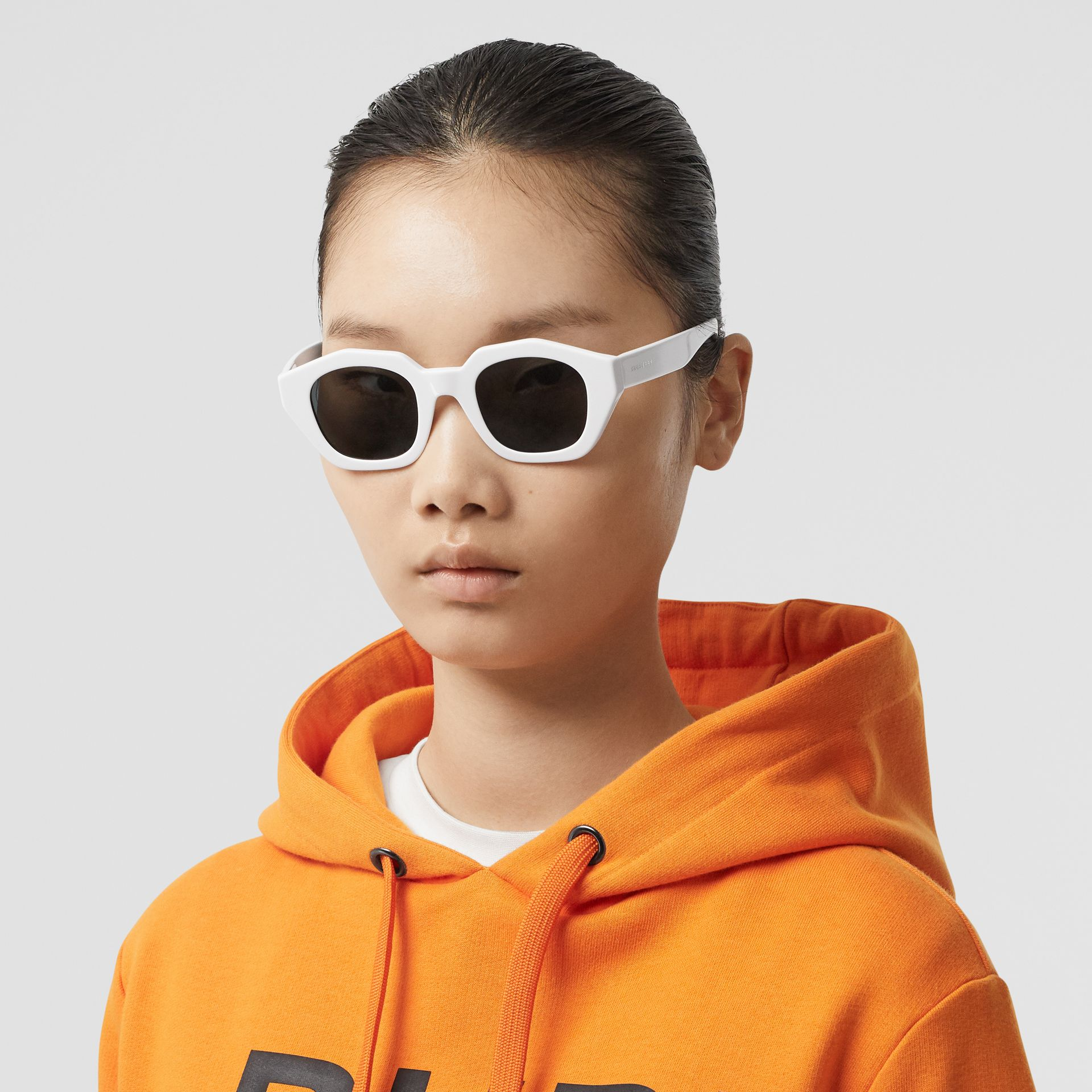 Geometric Frame Sunglasses in White - Women | Burberry Hong Kong S.A.R - gallery image 2