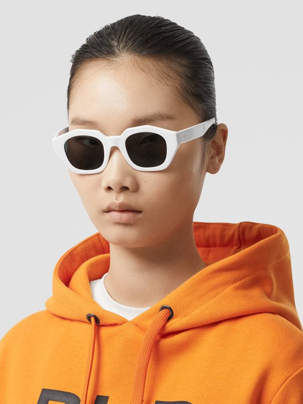 Geometric Frame Sunglasses in White - Women | Burberry Singapore - cell image 2
