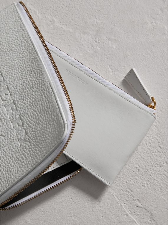 Embossed Leather Travel Wallet in Chalk White | Burberry Canada - cell image 3