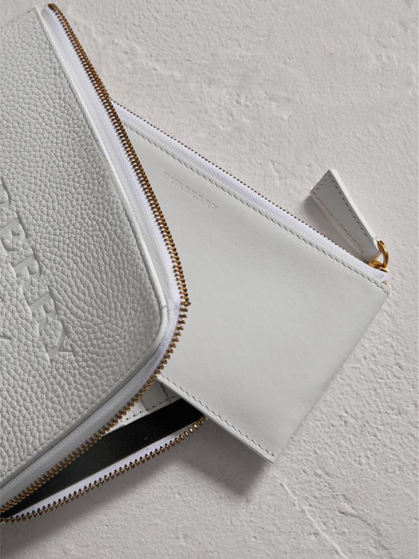 Embossed Leather Travel Wallet in Chalk White | Burberry Australia - cell image 3