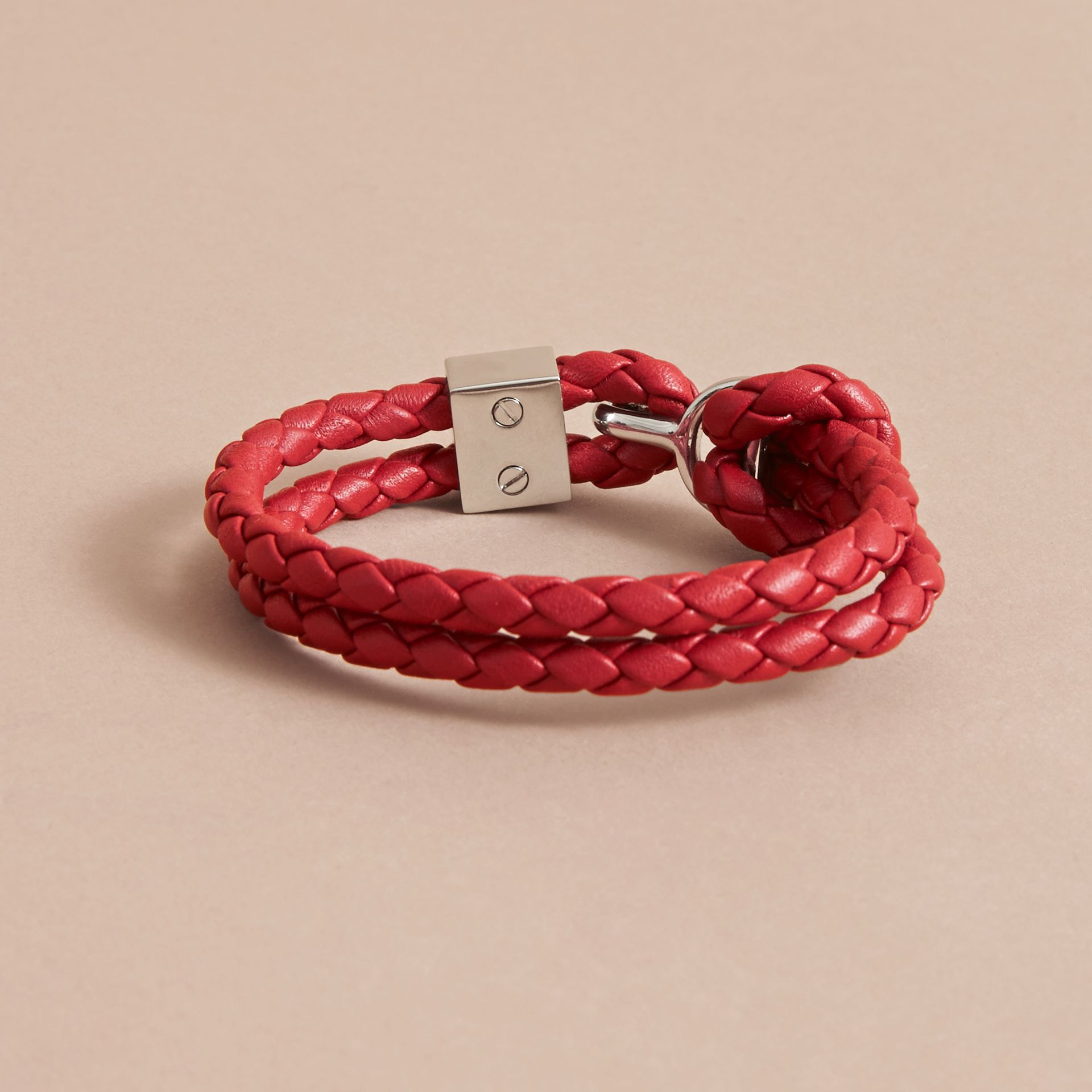 Braided Leather Bracelet Parade Red - gallery image 3