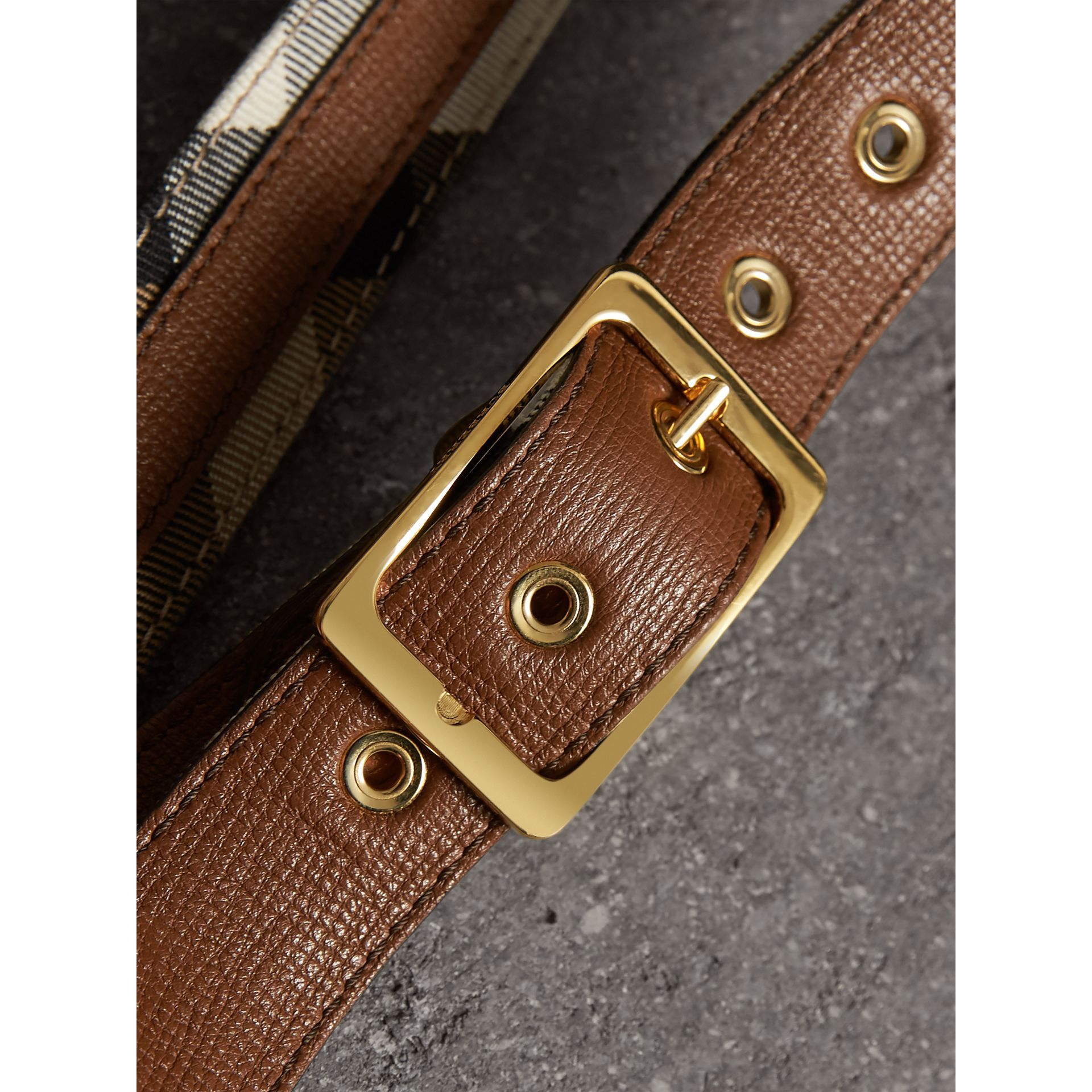 House Check and Grainy Leather Belt in Camel/tan - Women | Burberry Hong Kong - gallery image 2