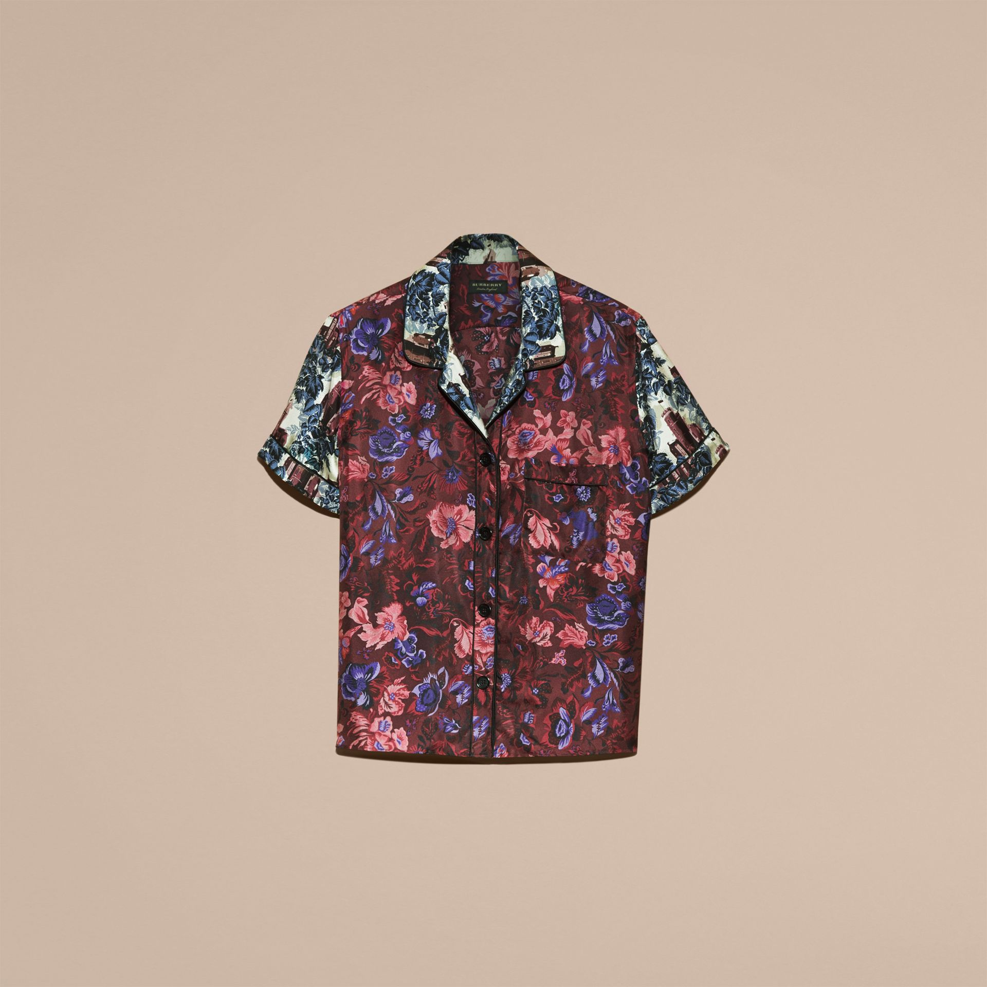 Carmine red Short-sleeved Floral Print Silk Pyjama-style Shirt - gallery image 4