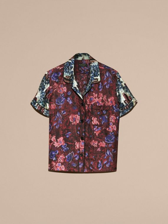 Carmine red Short-sleeved Floral Print Silk Pyjama-style Shirt - cell image 3