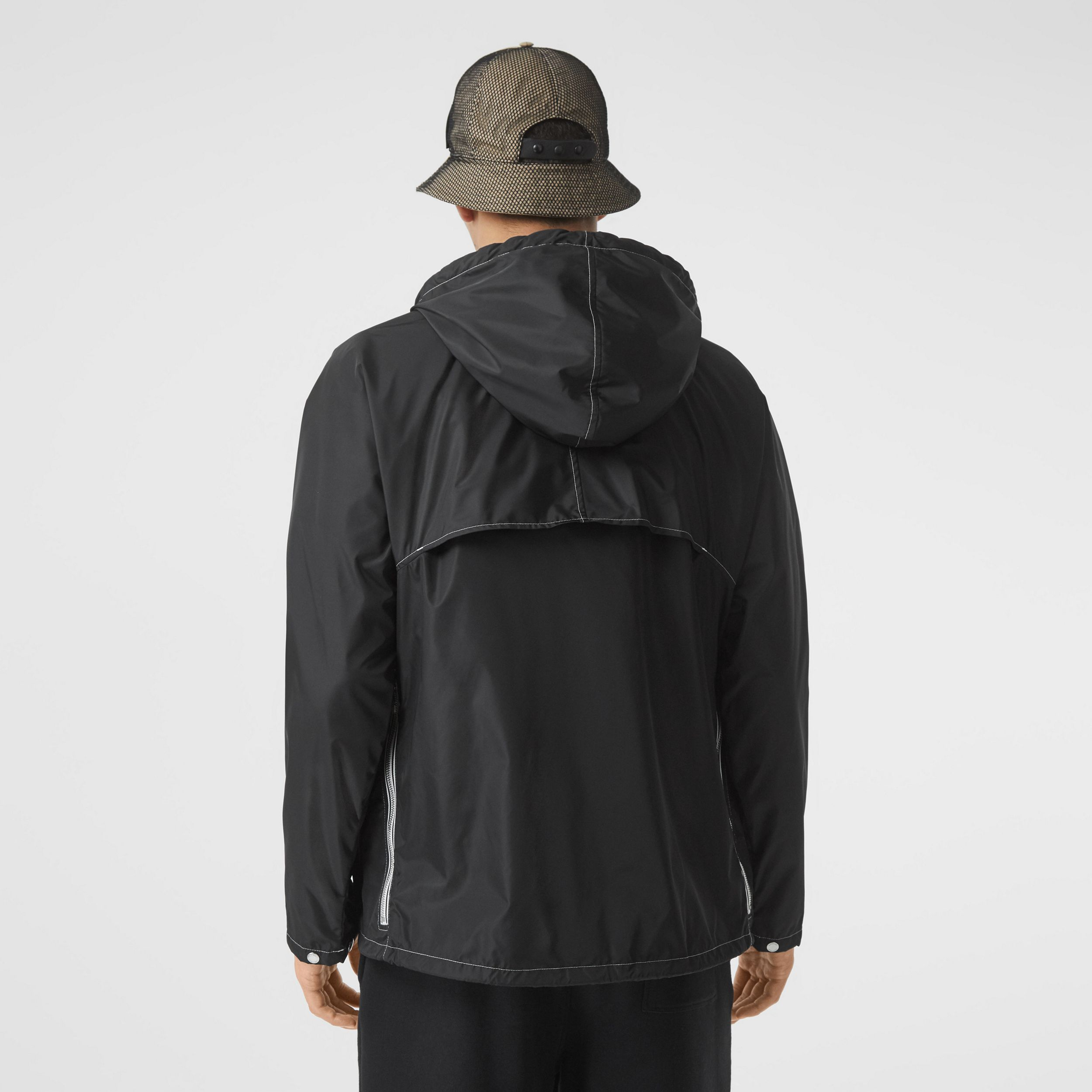 Logo Graphic Packaway Lightweight Hooded Jacket in Black - Men | Burberry - 3