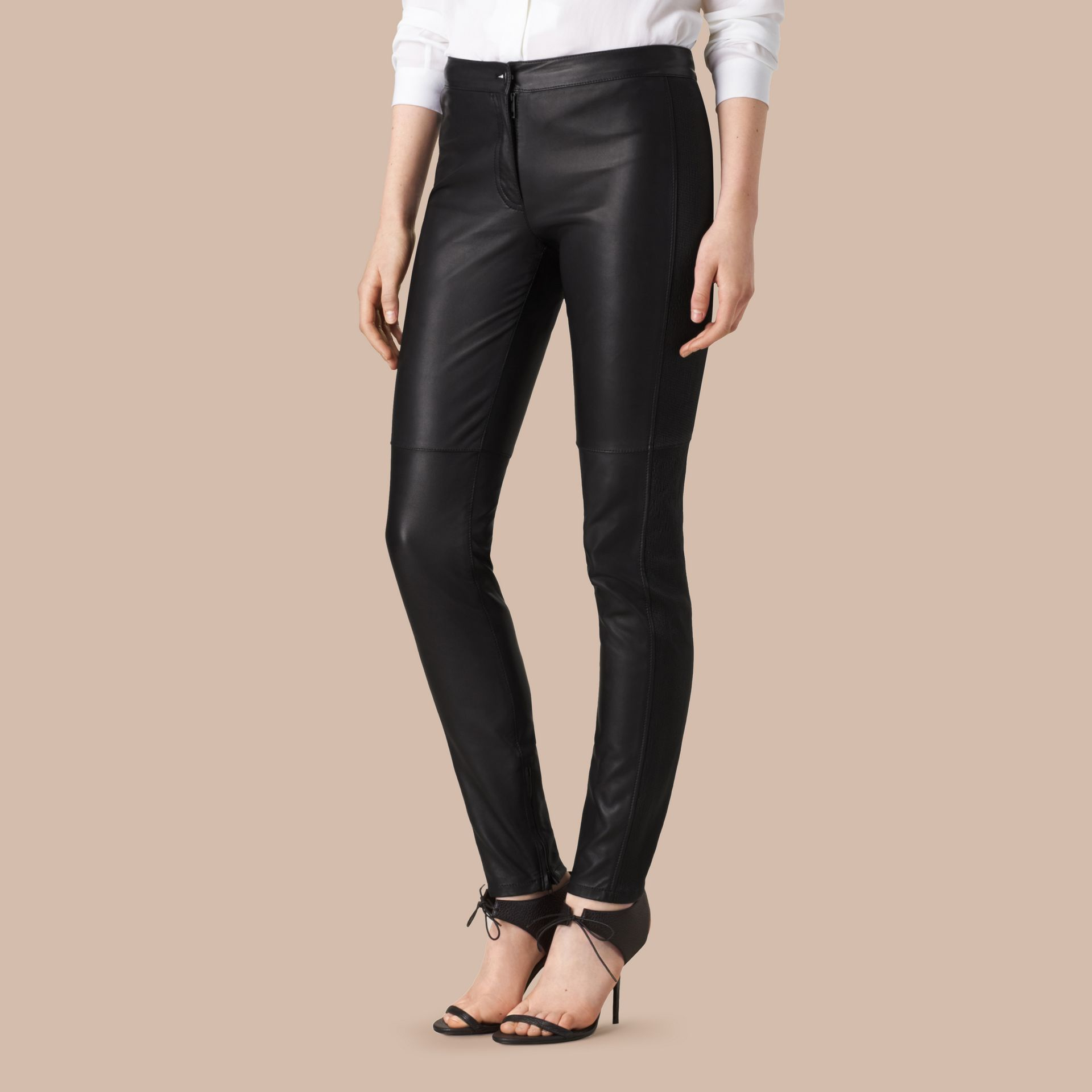 Panelled Lambskin Trousers in Black - Women | Burberry United States - gallery image 4
