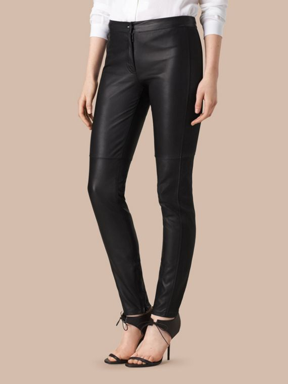 Panelled Lambskin Trousers in Black - Women | Burberry - cell image 3