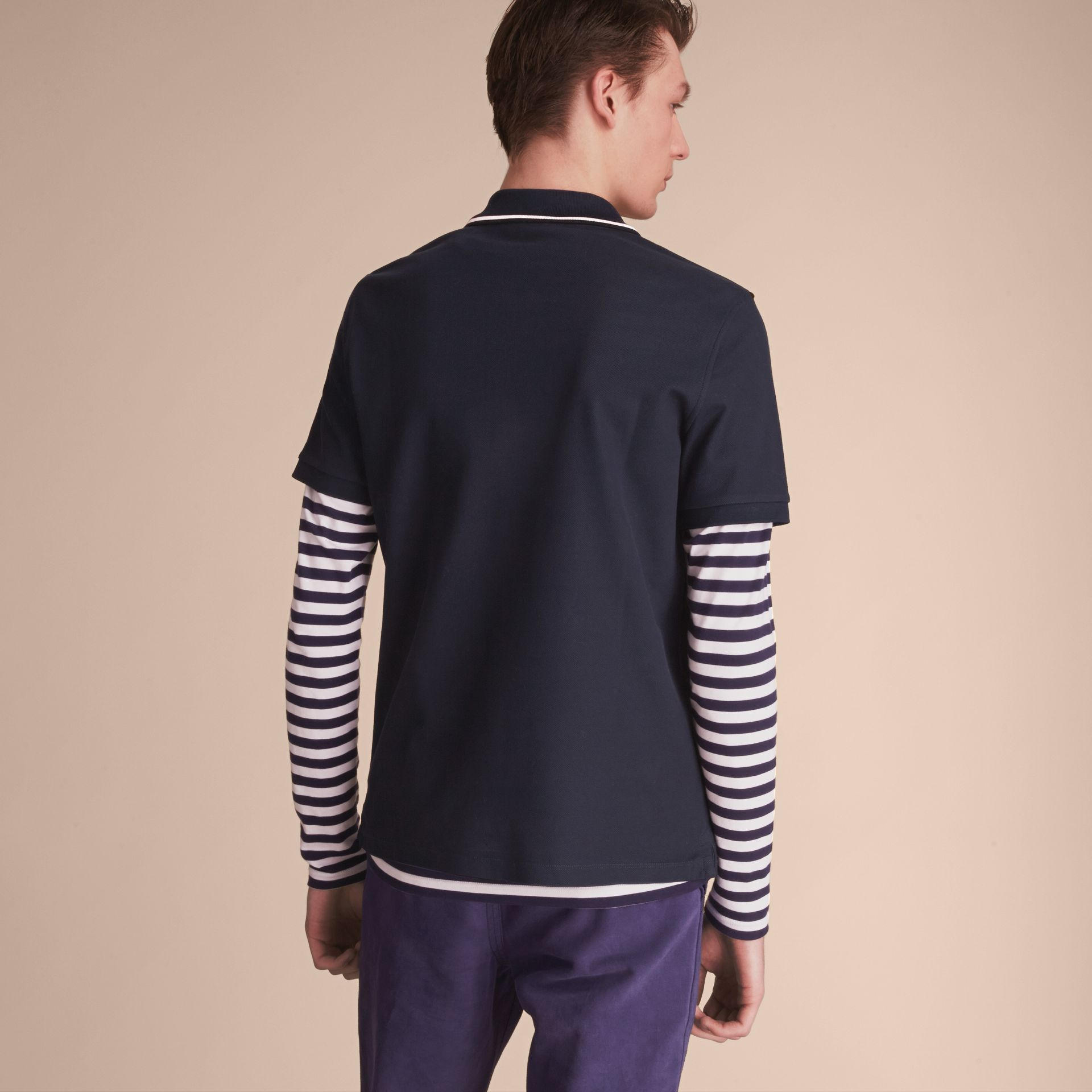 Striped Collar Cotton Piqué Polo Shirt in Navy - Men | Burberry - gallery image 3