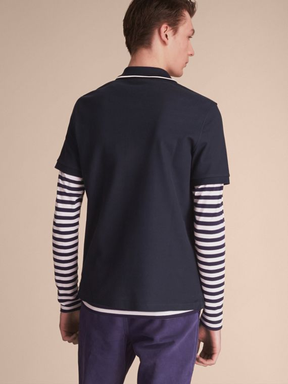 Striped Collar Cotton Piqué Polo Shirt in Navy - Men | Burberry - cell image 2