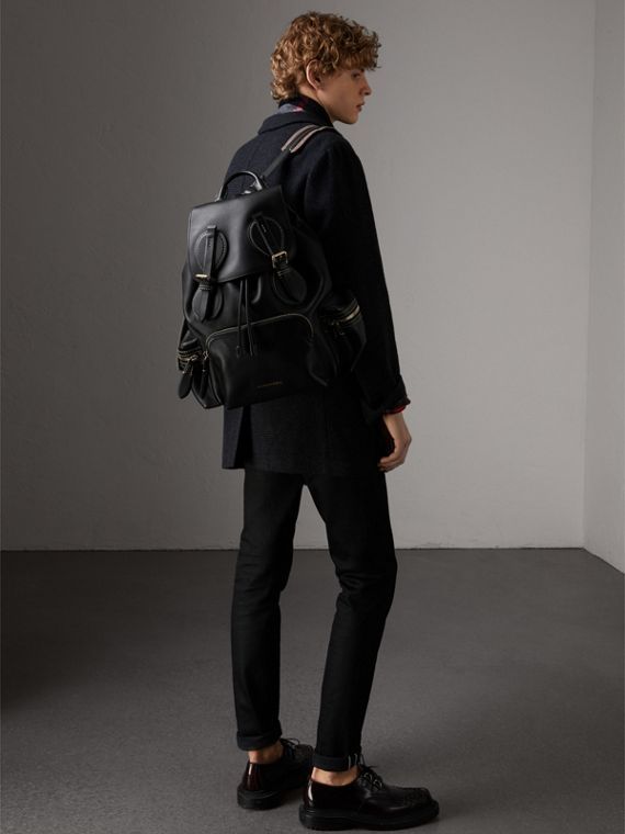 The Large Rucksack in Topstitched Leather in Black | Burberry - cell image 3