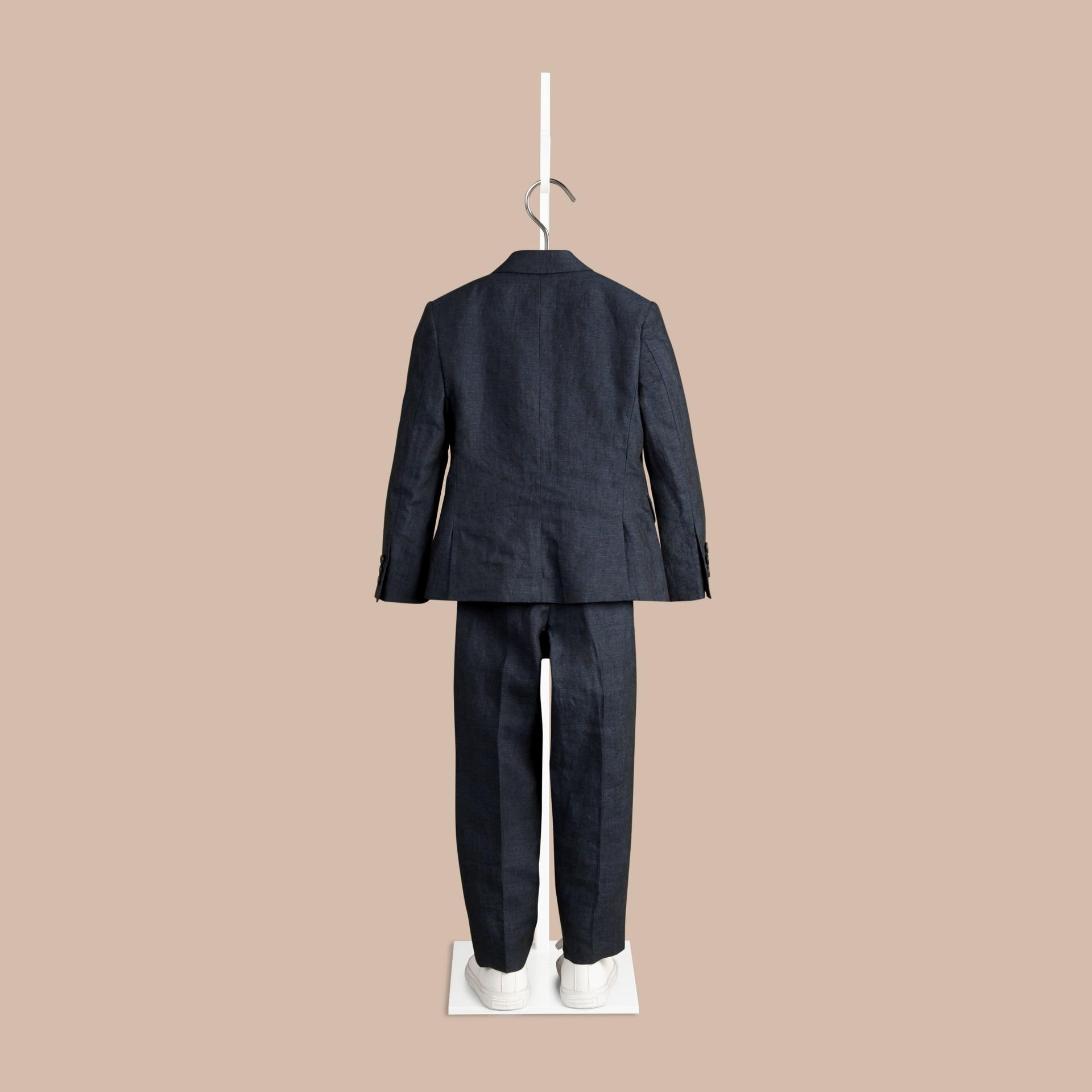 Navy Linen Tuxedo Jacket - gallery image 3